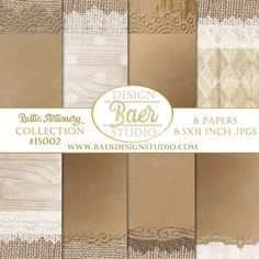 Rustic Invitation Paper Wedding Digital Paper Brown Digital