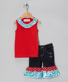 Take a look at this Red & Blue Trim Tank & Denim Ruffle Capris - Toddler & Girls by Heather Hill on #zulily today!