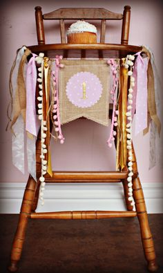 PINK AND GOLD Lace and Burlap Birthday Age High Chair Highchair Birthday Banner Party Photo Prop Bunting Backdrop Cake Smash Wonderland One