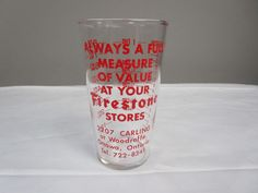 C417) Firestone Measuring Glass- Holds 1 cup-No Chips, No Cracks,Silkscreen good