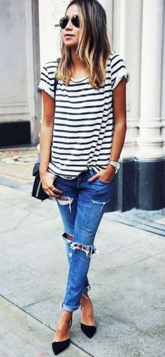 Love the fit and color of the  boyfriend jeans, loose striped top but long sleeved would be perfect too.