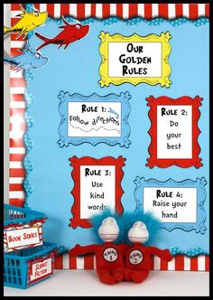 Seuss-like room décor theme in red, yellow, blue and green was created to coordinate with Dr. Seuss commercial products in color only. Most items are editable.