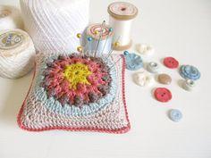 Karen, folk design pincushion in autumn colours - MADE TO ORDER £20.00
