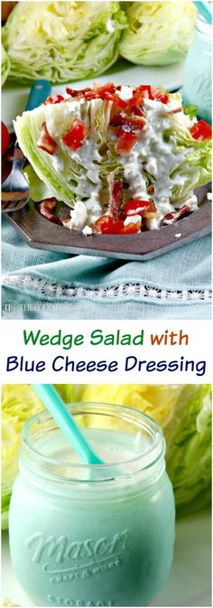 This wedge salad with blue cheese dressing is a meal in itself when topped with bacon and tomatoes! The dressing is also great for dipping vegetables for a snack! The Foodie Affair