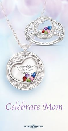"""A perfect pair, this dazzling duo of personalized jewelry gifts for Mom showcases the engraved names of her beloved family members and their """"floating"""" birthstone hearts. Order these for your Mom today and make sure she has the best Mother's Day ever. Don't forget that we offer the best guarantee in the business, with jewelry returns up to 120 days and free return shipping."""