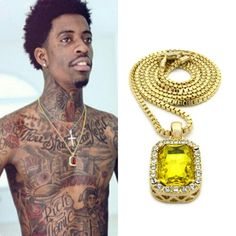 ICED OUT CANARY YELLOW PENDANT GOLD CHAIN NECKLACE HIPHOP YOUNG THUG RUBY MEN SQ #BOX