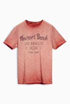 Buy Coral Garment Dyed Newport Beach T-Shirt from the Next UK online shop
