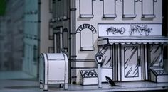 Exploring and Developing Animation: stop motion sets research (Continued) Cut Out Animation, Animation Stop Motion, Diorama, Storyboard Drawing, Mini Mundo, Interior Window Shutters, Frame By Frame Animation, Found Object Art, Paper Models