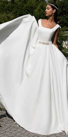 Simple Satin Square Neckline Natural Waistline A-line Wedding Dress With Belt