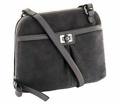 This suede crossbody bag with sleek leather trim is an accessory that you won't want to leave the house without!