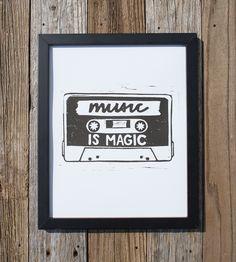 Music Is Magic Cassette Art Print