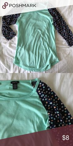 Rue 21 heart shirt No flaws. 20% off bundles and excepting all reasonable offers!three quarter sleeve Rue 21 Tops Tees - Short Sleeve