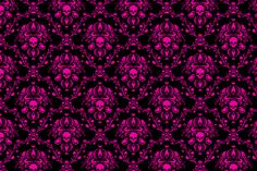 Pink on Black Skull Damask fabric by elizabeth on Spoonflower - basic combed cotton, $17.50/yd ~or~ heavy cotton twill, $32/yd