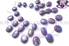 Purple Copper Turquoise Smooth Oval (Quality AA) Shape: Oval Smooth Length: 18 cm Weight Approx: 17 to 19 Grms. Size Approx: 10.5x14 to 14x16.5 mm Price $33.00 Each Strand