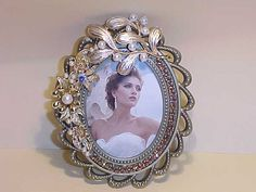 Upcycled Picture Frame Vintage Jewelry Embellished Pearls Flowers One of a Kind (24.50 USD) by darsjewelrybox
