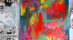 Abstract acrylic landscape painting, mixed media - YouTube