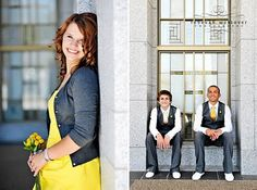 yellow bridesmaid dress with gray cardigan, groomsmen in gray slacks and vests