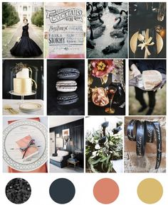 Moody Winter Wedding- beautiful soothing palette.  the black and gold is classic and still fresh & surprising with the rose hue
