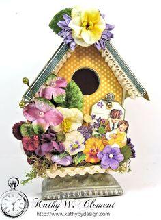Springtime Altered Wooden Bird House by KathybyDesign on Etsy