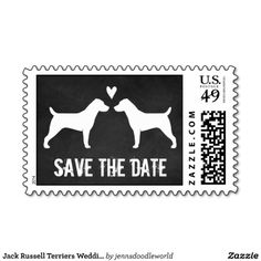 Jack Russell Terriers Wedding Save the Date Postage
