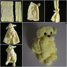 Towels Animals - Zwierzęta z ręczników - Origami z ręczników Towel Animals, Sock Animals, Cute Crafts, Diy And Crafts, Crafts For Kids, Baby Shower Gifts, Baby Gifts, Towel Origami, How To Fold Towels