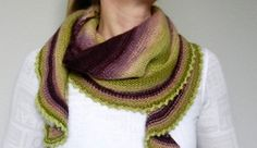 This crescent shaped shawl is worked from the top down. The rapid increases result in a wide shallow shawl with twirling edges.