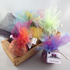 Tutu Scrubbies: shredded soap wrapped in Tulle. Perfect for scrubbing.