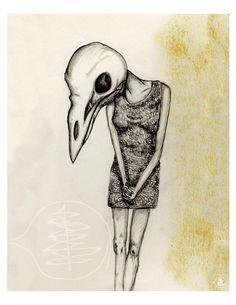 Bird Skull - Sketch - Horror  - 8x10 Print - Black And White - Girl - Bird