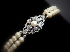 Bridal bracelet, pearl bracelet, vintage style bracelet, cuff bracelet, Swarovski pearls and crystals, wedding jewelry