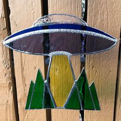 Stained Glass UFO  Alien Spaceship by SeaglassAndStardust on Etsy