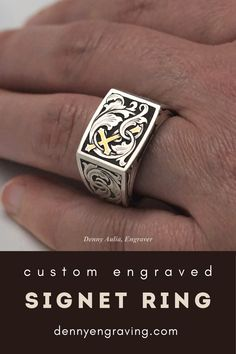 Customize your jewelry with freehand metal engraving. Pictured is a sterling silver signet ring that I engraved with one of my custom designs. It features scrollwork and a cross. See more of my work here! Metal Engraving, Custom Engraving, Best Jewellery Design, Engraved Jewelry, Custom Metal, Signet Ring, Ancient Art, Class Ring, Custom Design
