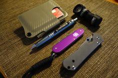 Kydex wallet, Schrade Tac pen, Swiss Cadet limited, Chris Reeves Sabenza, Armytech flashlight