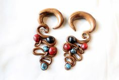 Beaded gauged earrings