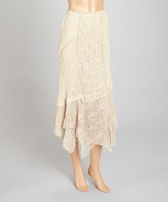 Look at this Light Brown Lace Linen-Blend Maxi Skirt on #zulily today!