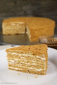 honey-cake-recipe-medovik-russian-store-copycat Our local Russian Store sells these amazingly soft, spongey and thin cake layers that make for one of the most delicious honey cake sold in the area, known as the Medovik. Russian Honey Cake, Russian Cakes, Baking Recipes, Cake Recipes, Dessert Recipes, Desserts, Medovik Cake Recipe, Sour Cream Frosting, Chocolate Slice