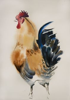 sm watercolor on paper by Olga Flerova Rooster Painting, Rooster Art, Chicken Painting, Chicken Art, Watercolor Bird, Watercolor Animals, Guache, Chinese Painting, Animal Paintings