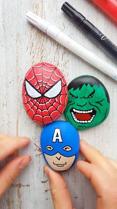 Decorative rocks with Superhero. Amazing painted rocks created with Artistro paint pens. Artistro products are perfect gift for your kids because it's SAFE, NON-TOXIC & ODOR-FREE, Artistro Acrylic Pai Rock Painting Patterns, Rock Painting Designs, Paint Designs, Paint Pens, Paint Markers, Craft Paint, Pierre Decorative, Decorative Rocks, Make Your Own Superhero