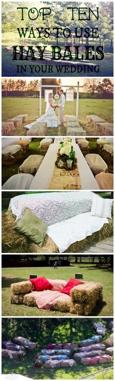 Ways to use hay bales at your wedding , instead of renting tables and chairs