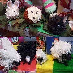 Pecorelle, riccio e conigli, creati con la lana