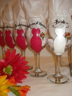 Hand Painted Personalized Bridal Party Wine by samdesigns22