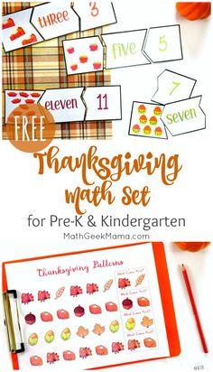 Thanksgiving Math for Kindergarten {FREE Printables} Thanksgiving Activities For Kindergarten, Thanksgiving Worksheets, Thanksgiving Math, Kindergarten Worksheets, Preschool Math, Preschool Ideas, Kindergarten Units, Free Worksheets, Free Math