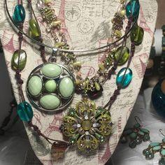 Vintage Jewelry, 26PC Green Jade Hues Jewelry Lot, Vtg-Mod, NY, Lia Sophia Mix #UnsignedVintageMixNYLiaSophiaFumi