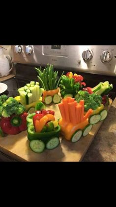 Trains made of Peppers and Veggies