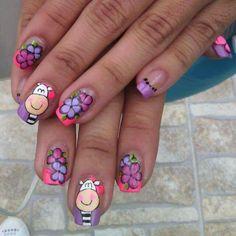 Cebra nail Funky Nail Art, Crazy Nail Art, Crazy Nails, Cute Nail Art, Girls Nail Designs, Cool Nail Designs, Wow Nails, Nail Art For Kids, Finger