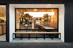 Hutch & Co. Restaurant Cafe by Biasol: Design Studio, image: Ari Hatzis From its humble beginnings as an ironmongery store formally known as Design Studio, Design Blog, Retail Facade, Shop Facade, Salon Interior Design, Cafe Interior, Shop Front Design, Store Design, Burger Bar