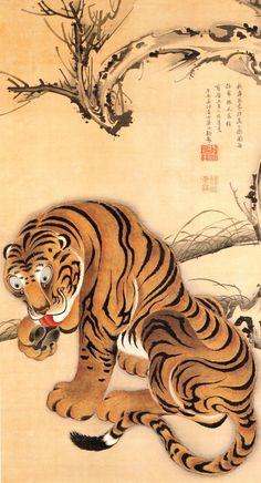 Tiger, 1755 by Ito Jakuchu. Ukiyo-e. Japanese Artwork, Japanese Painting, Japanese Prints, Art Tigre, Japanese Tiger, Tiger Painting, Zen Painting, Art Chinois, Art Asiatique