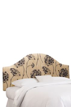 Curved Queen Anne's Lace Black/beige Headboard