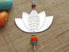 Indian Inspired Silver Lotus Flower Embossed Metal by FoilingStar