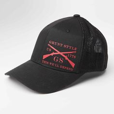 The Grunt Style Black Flex is an ultra comfortable flexfit trucker hat. Made of polyester, cotton, and P. Grunt Style, Baseball Hats, Cute Outfits, Clothes, Black, Fashion, Pretty Outfits, Outfits, Moda