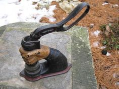 old notary stamp | vintage Cast Iron Fist Notary Seal Press